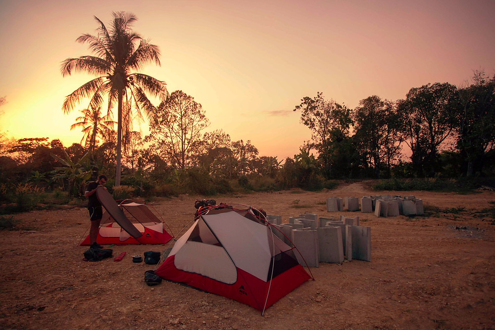 malaysia malaisie msr tent campingpalm tree bikepacking biketouring