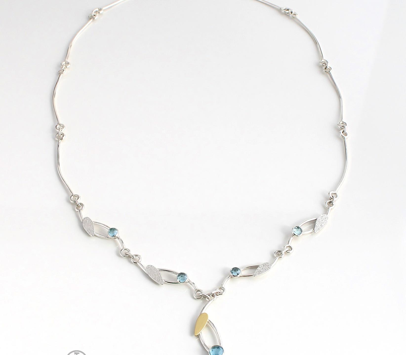 BLUE TOPAZ NECKLACE STERLING SILVER 18K GOLD