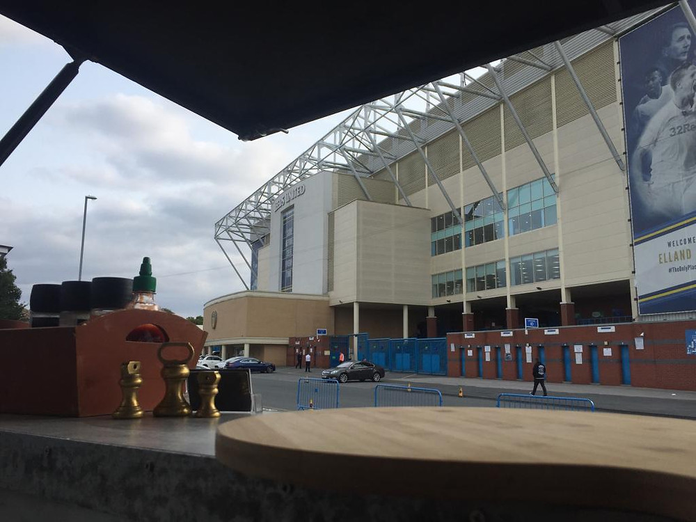 Knead'n'Feed outside the pavilion at Elland Road for the Leeds United v Middlesborough game providing freshly cooked pizza
