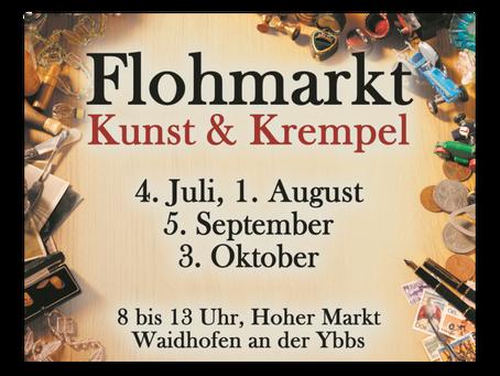 Her mit dem Krempel, der auch Kunst sein könnte. Flohmarktstimmung in Waidhofen