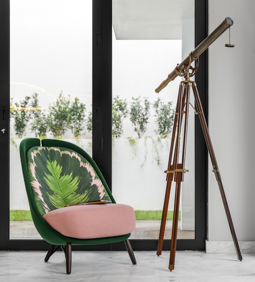 calatea armchair, cristina celestino, bold floral print, antique telescope, eichholtz