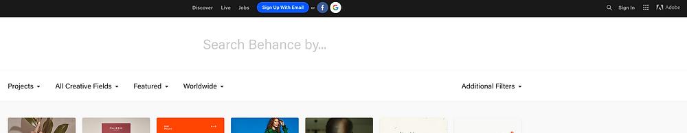 Behance search window screen shot.