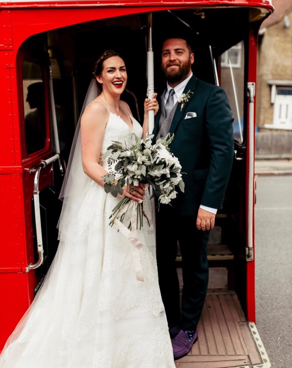 Bride and Groom on Red London Bus