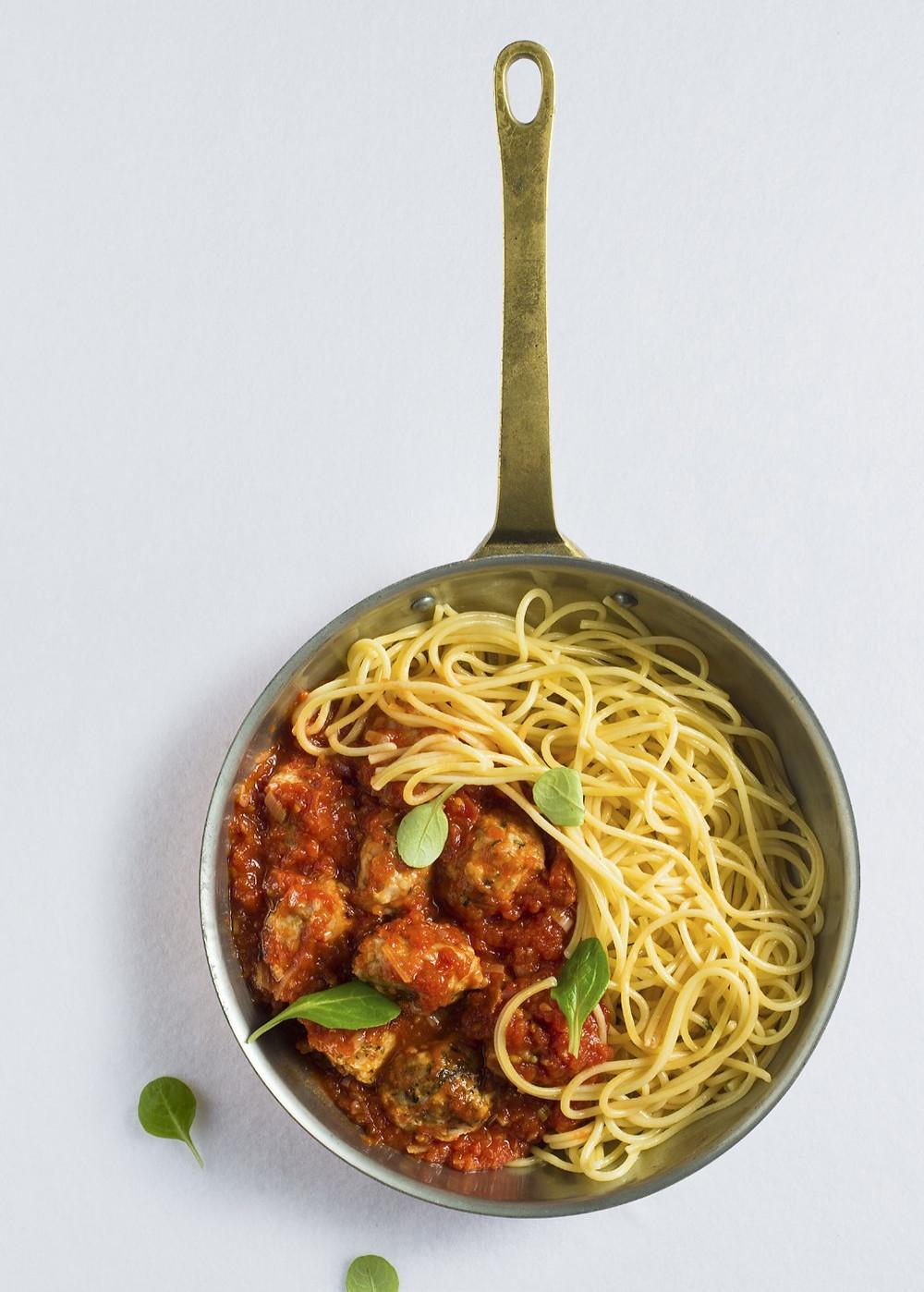 mėsos kukuliai su pomidorų padažu, spagečiai, Alfo receptaii