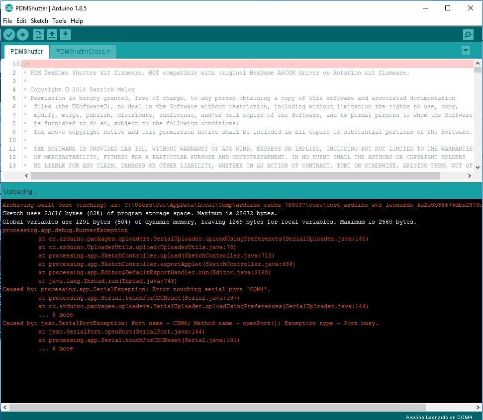Updating firmware (rotator and shutter)   NexDome Community Forum
