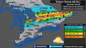 Ice Pellet Forecast, for Southern Ontario. Issued January 10th, 2020.
