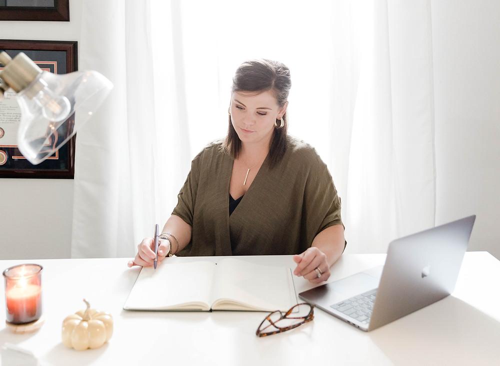 Eloise working at desk