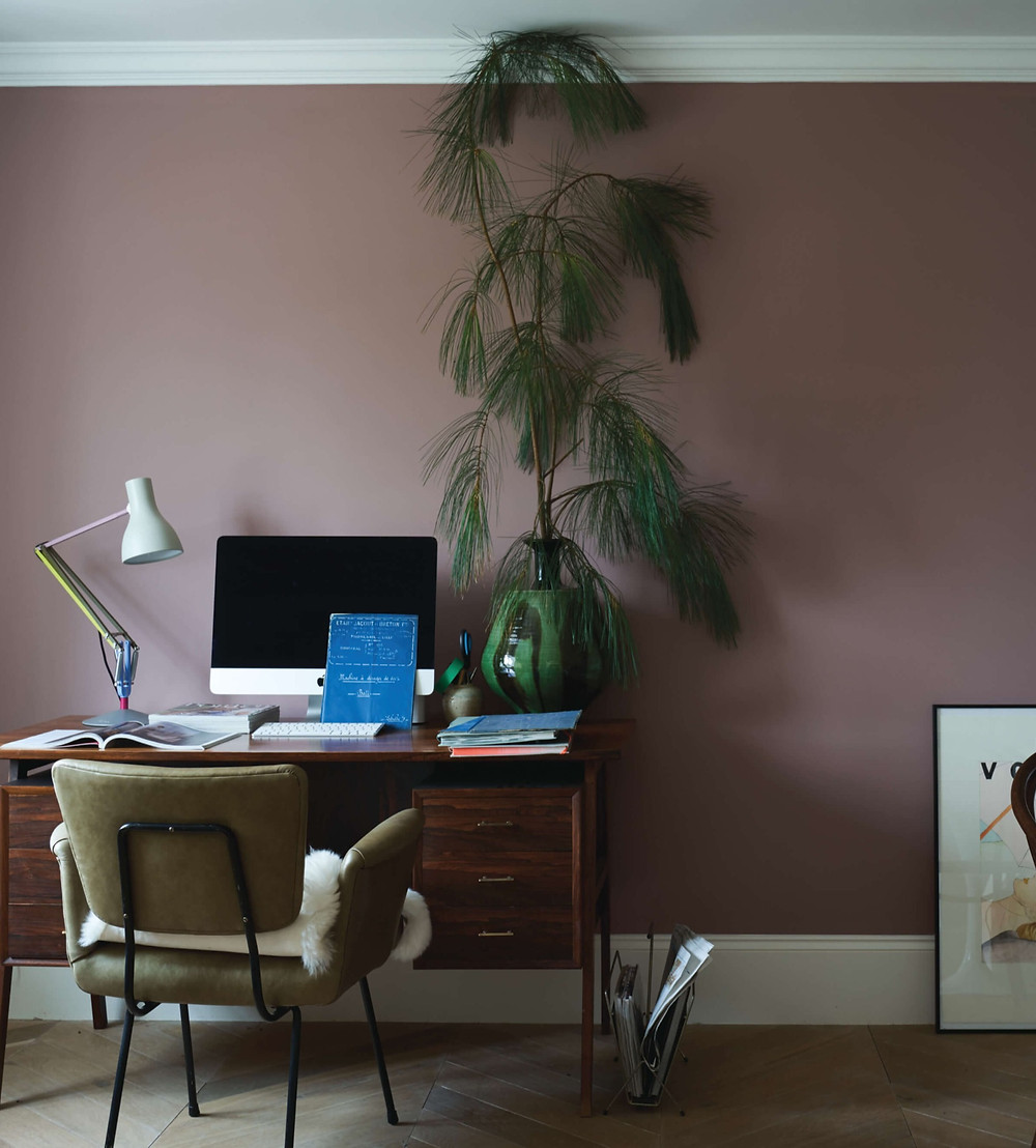 Home office setup with Sulking Room Pink by Farrow & Ball