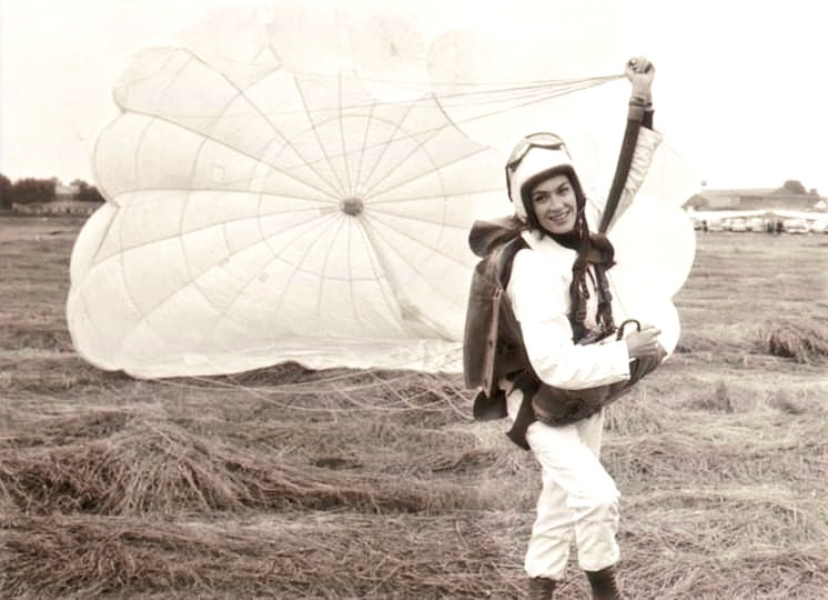Female skydiver landing a canopy. old photograph
