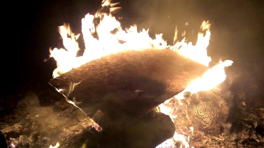 Burning plywood
