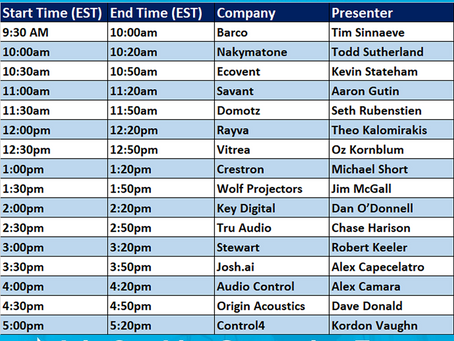 Smart Home Day Presenters and Time Schedule