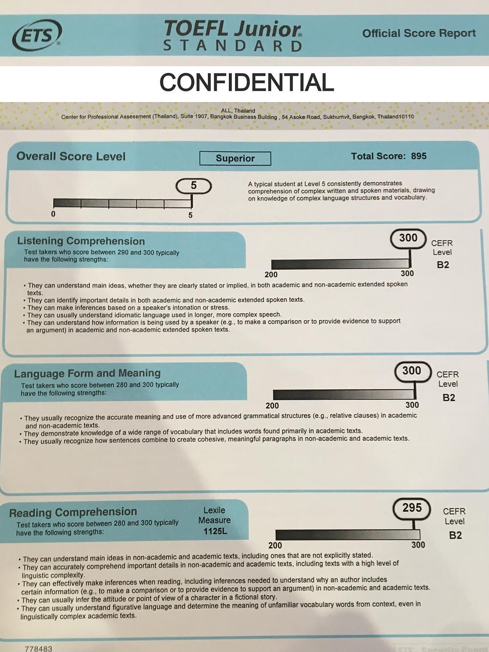 ตัวอย่างผลสอบ TOEFL Junior