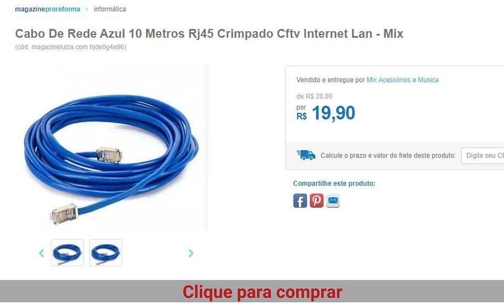 Cabo para internet de 10metros