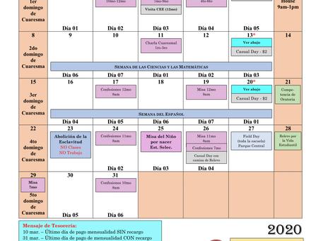 Calendario mes de marzo 2020