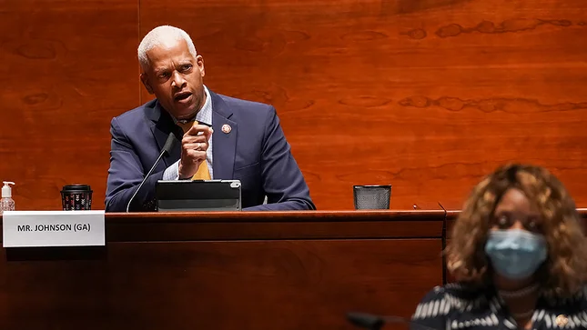 Rep. Hank Johnson (D-Ga.) representing his bill to stop military grade equitment being sent to police