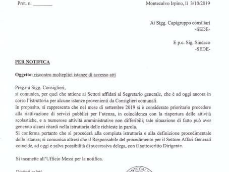 DOPO IL SINDACO, ANCHE IL SEGRETARIO E' A CACCIA DI GIUSTIFICAZIONI.