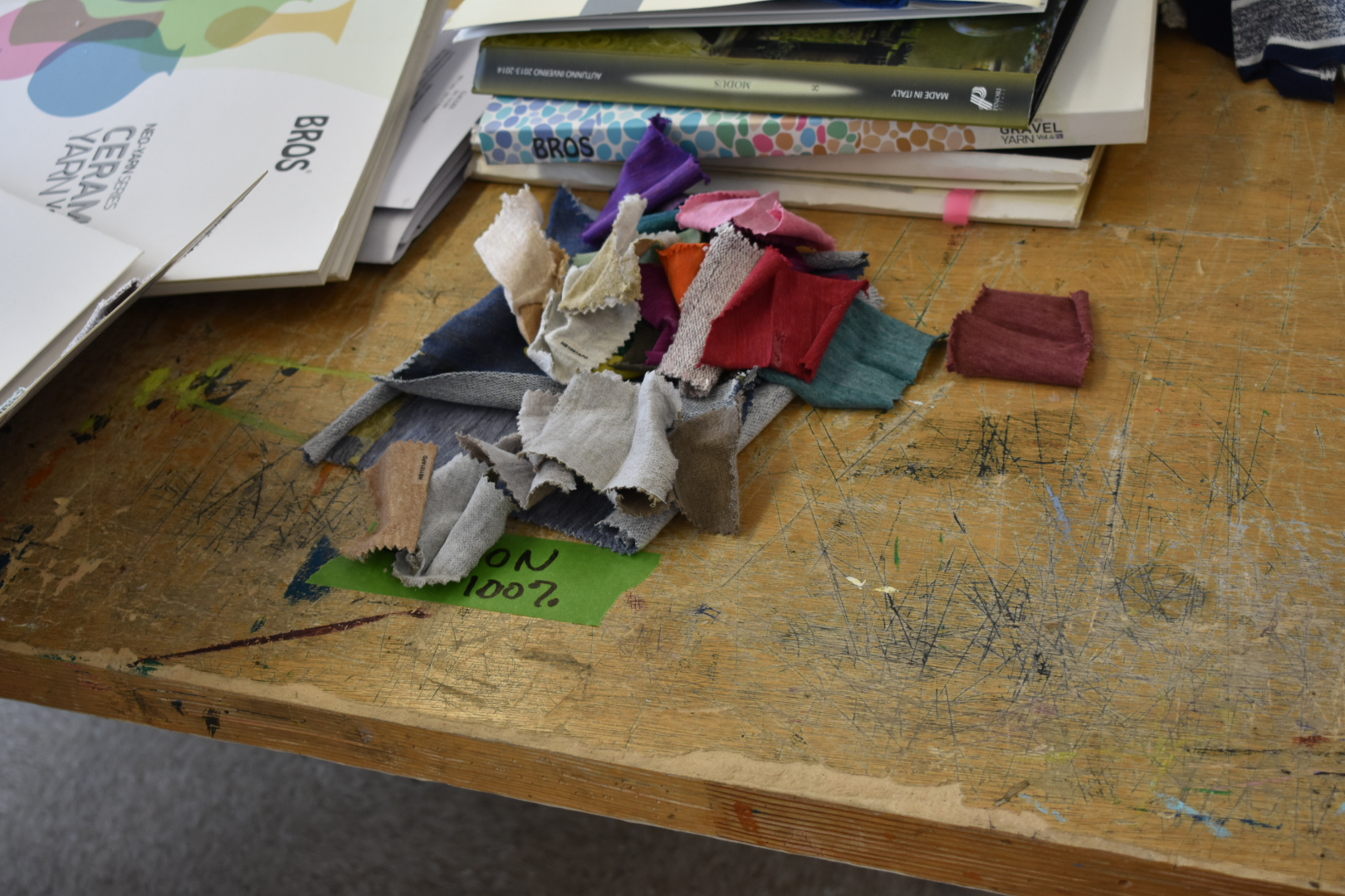 Fabric scraps sorted into a 100% cotton pile. (Photo by Sierra Petro)