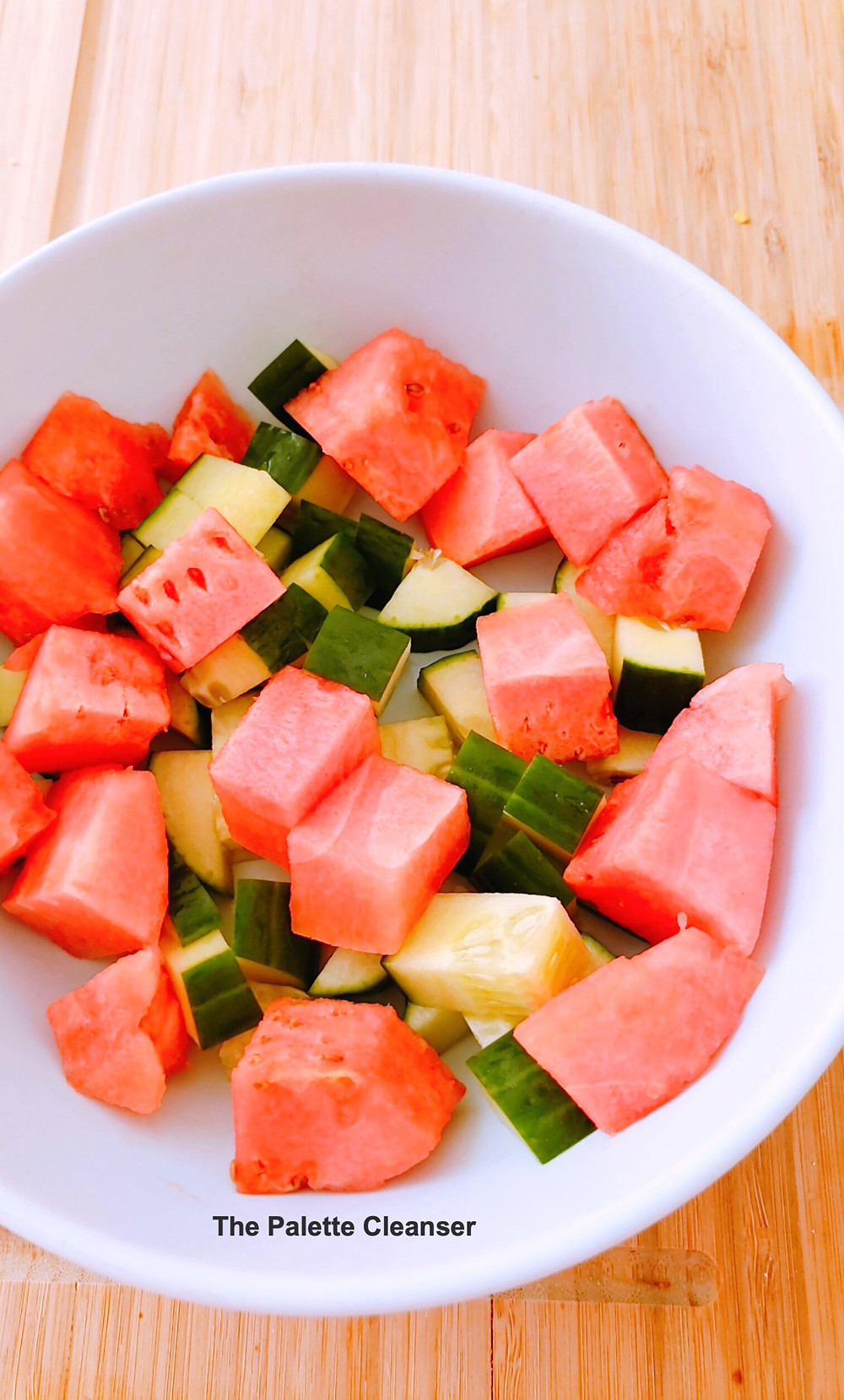 diced cucumbers and watermelon