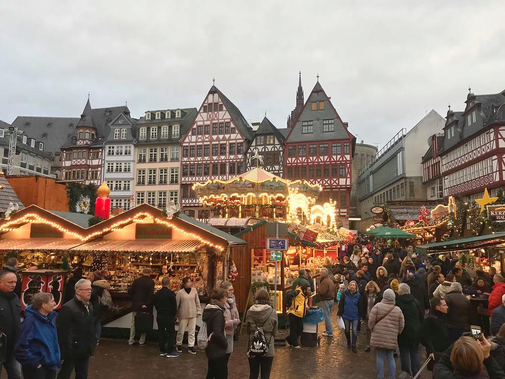 Römerberg square at night Christmas market in Frankfurt Germany