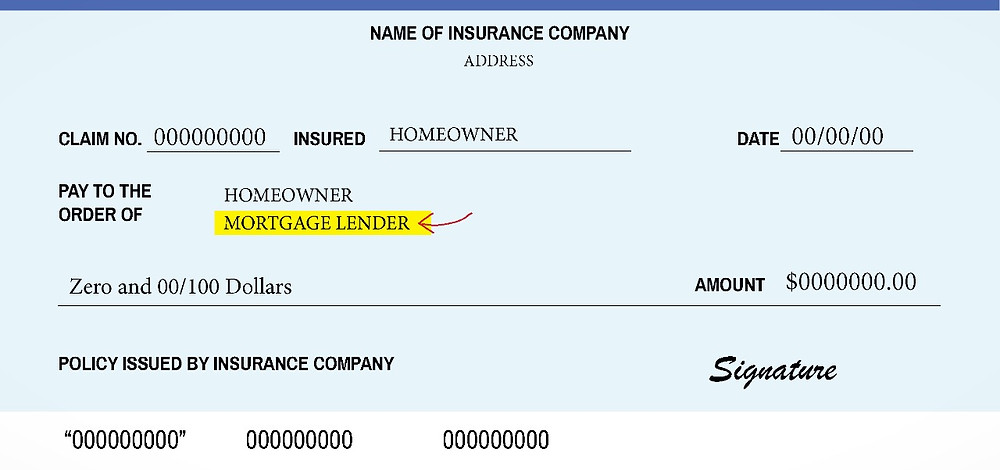 Sample check with a mortgage lender listed