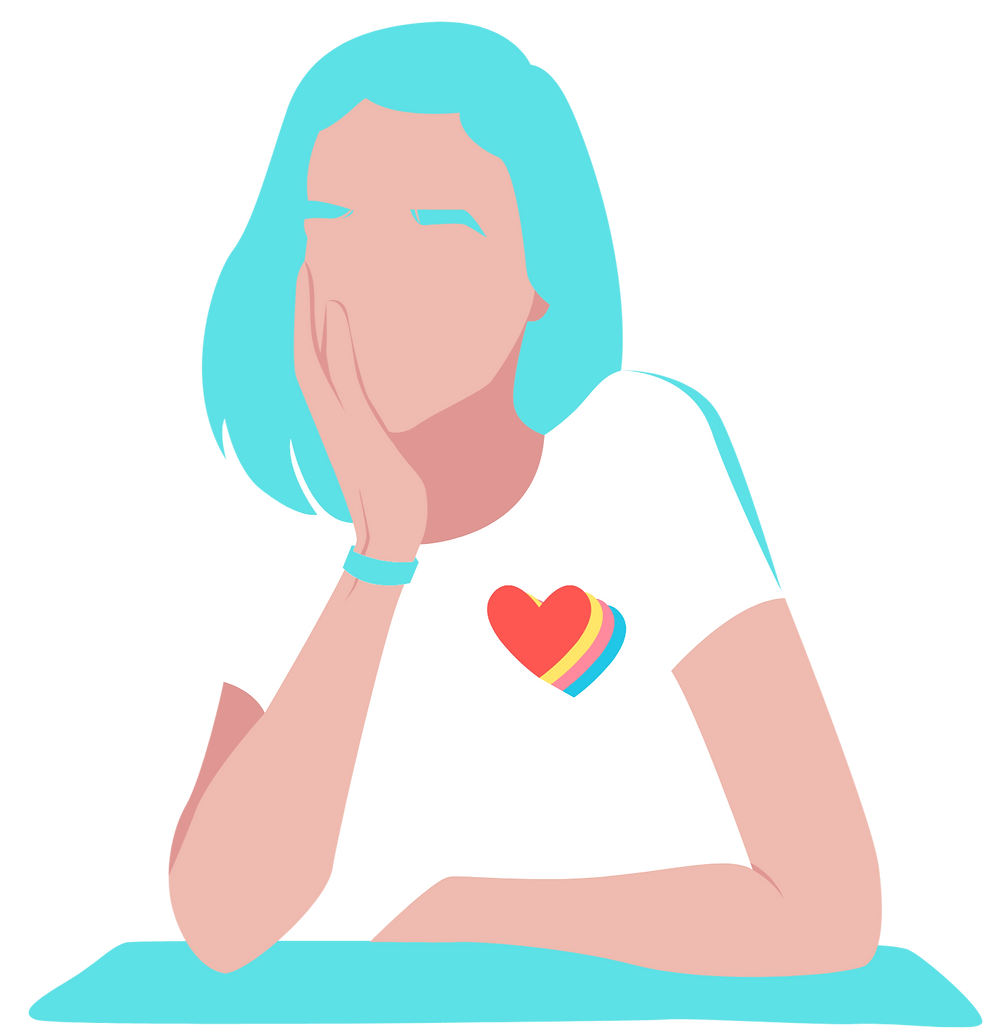 Girl, Heart, Graphic, Woman