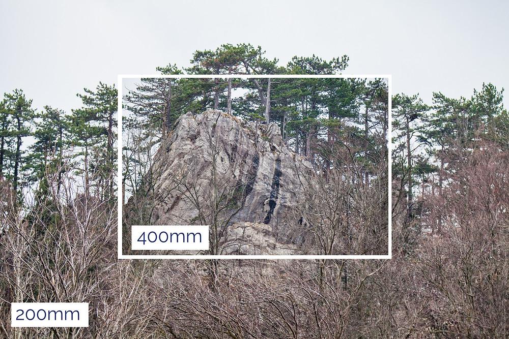 Vergleich 200mm Brennweite zu 400mm