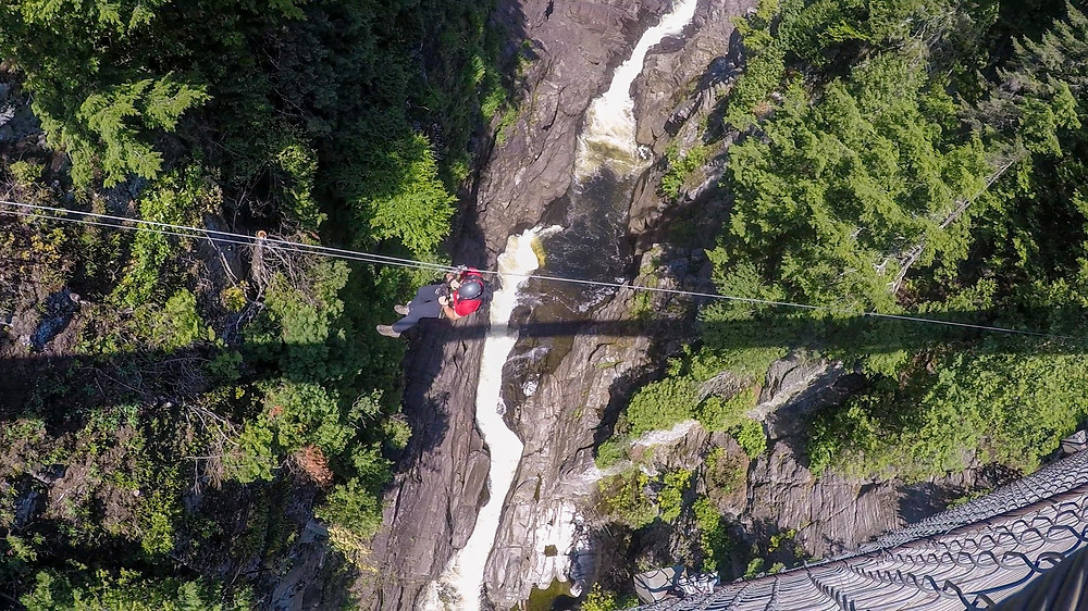 Adventure Activities at Massive Canadian Waterfall and Canyon in Quebec Ziplining