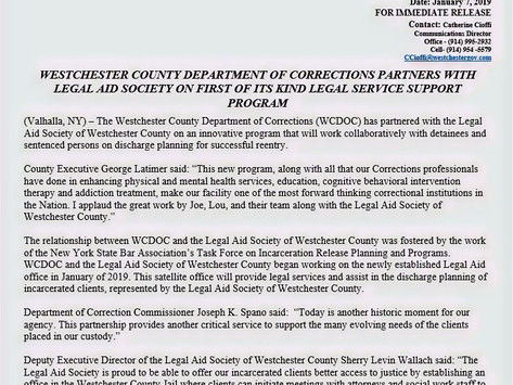 Westchester County Dept. of Corrections partners with The Legal Aid Society of Westchester County