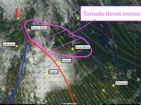 Tornado threat increasing for SK/MB