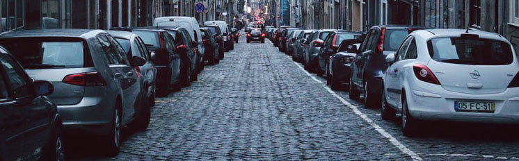 A street of parked cars.