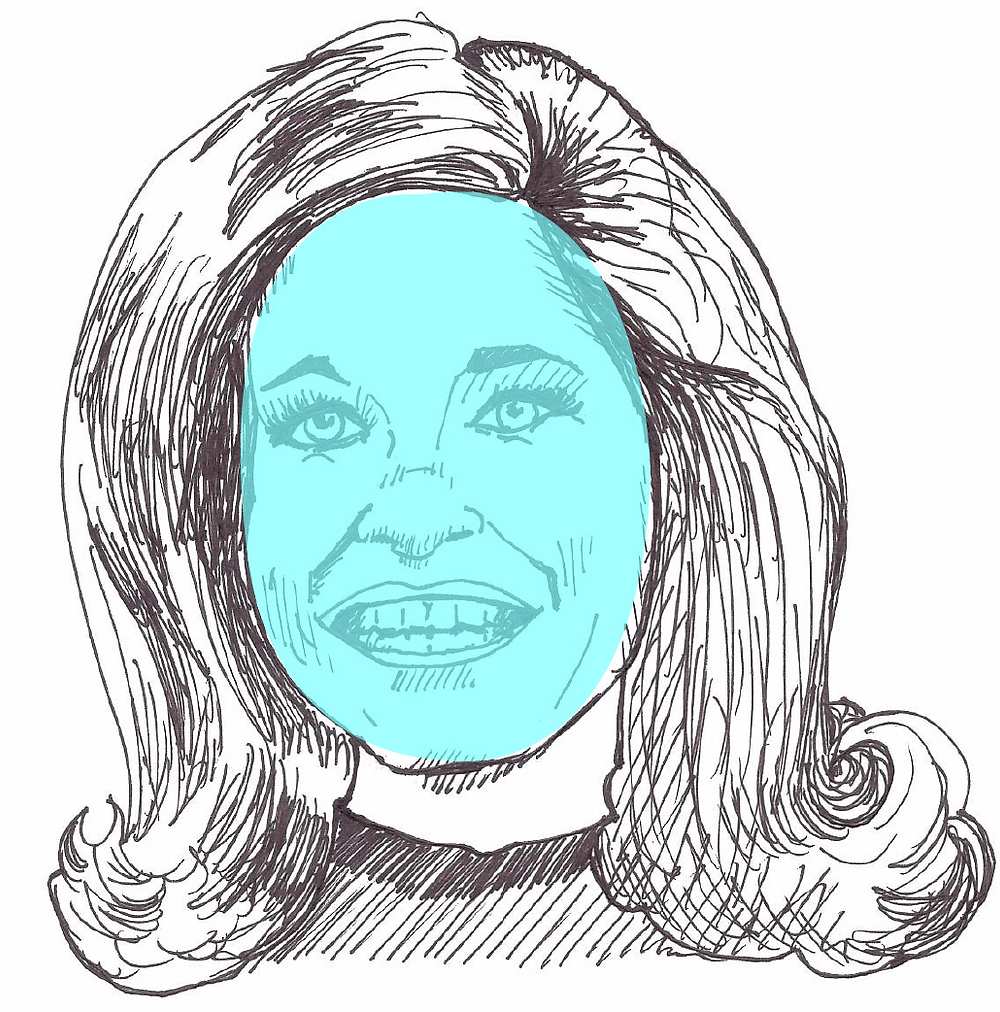 Mary Tyler Moore illustration with blue oval overlay.