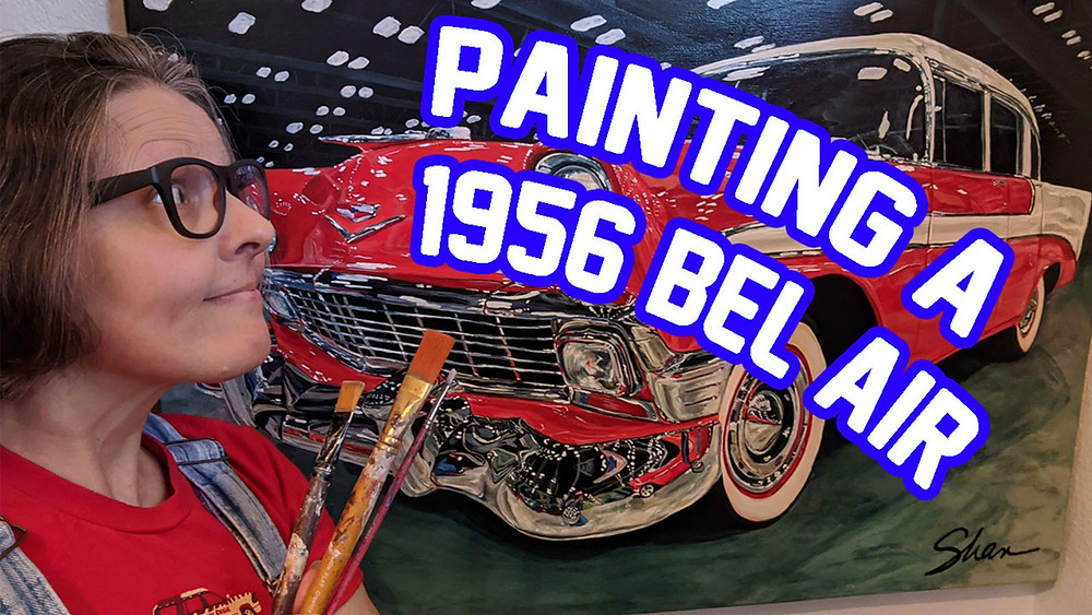 Shan with her 1956 Chevy Bel Air Painting