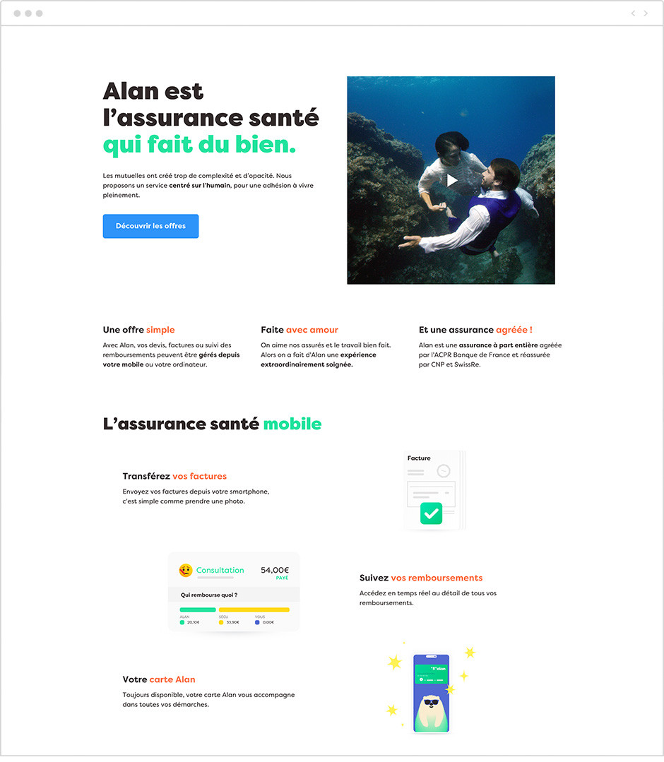 Exemples landing page : Alan