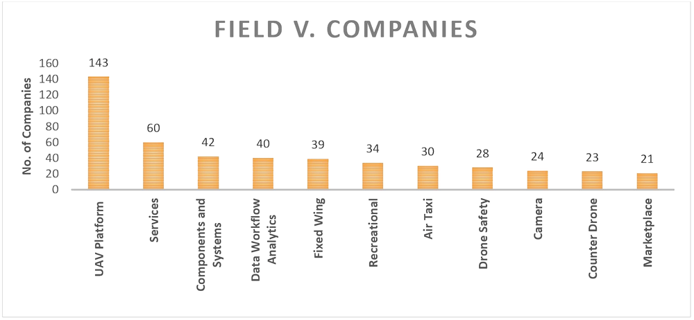 Patent Lanscape in Drone Industry, Analysis of the Number of Companies in Significant Fields