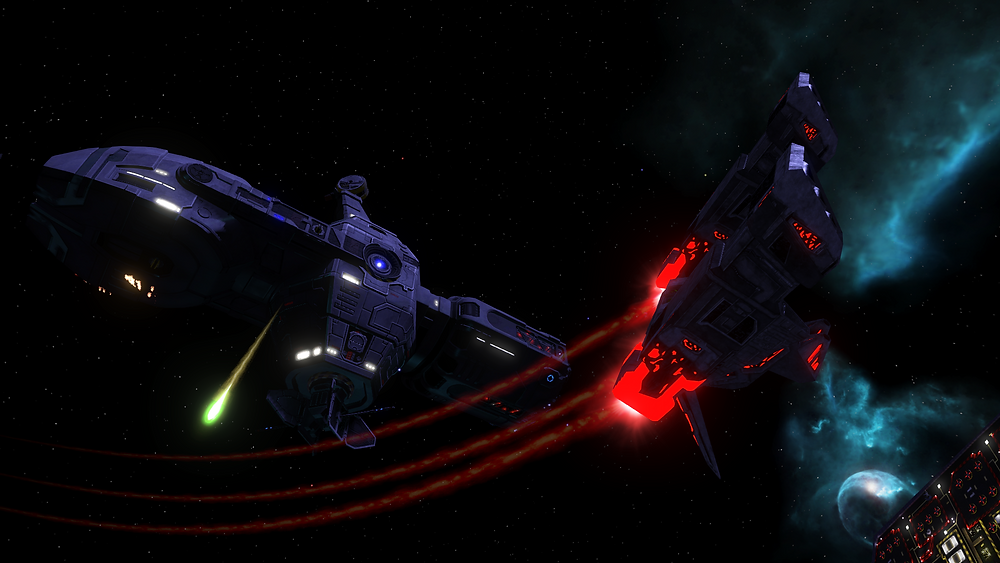 A Terran Leviathan cruiser fires upon a Shivan Manticore Interceptor From the FreeSpace Source Code Project