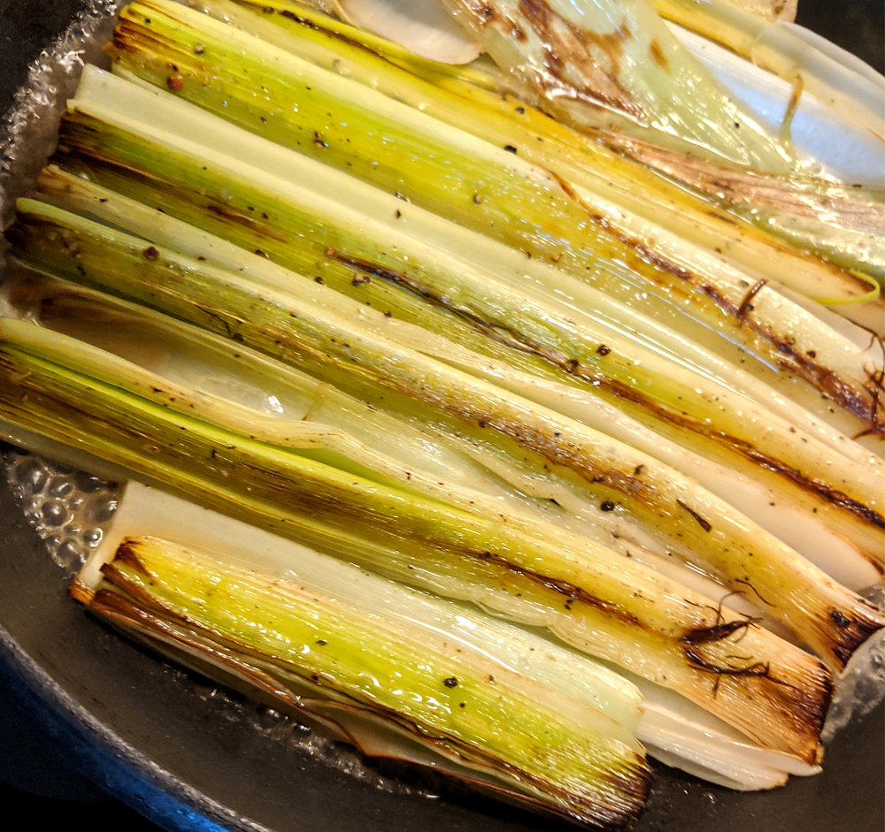 leeks braised in white wine, broth, and browned butter