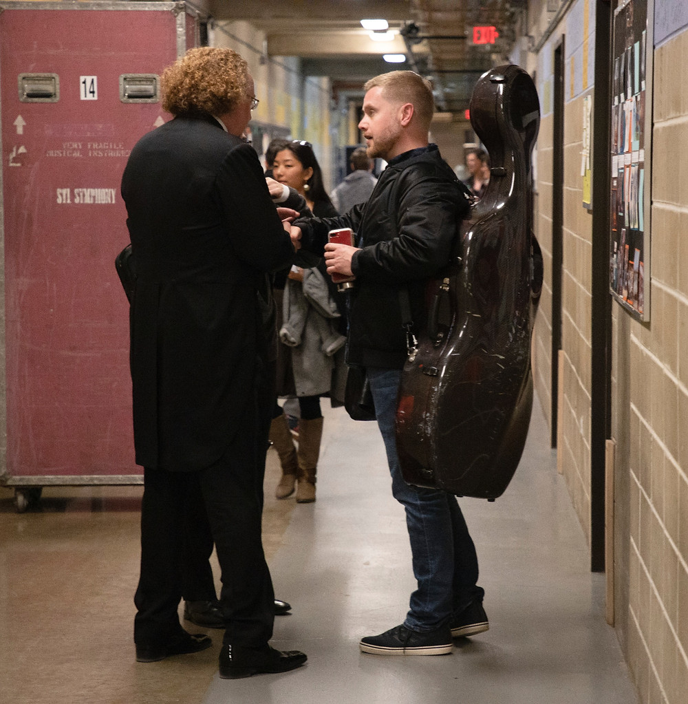 Bjorn and Stéphane share a moment while on tour at the Krannert Center for Performing Arts in Urbana, Ill., in November 2019.