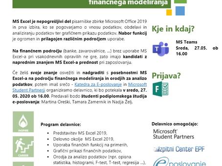 MSP delavnica: Napredni Excel na področju finančnega modeliranja