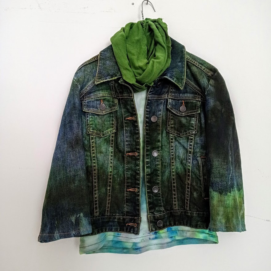 Green tie dyed jeans jacket