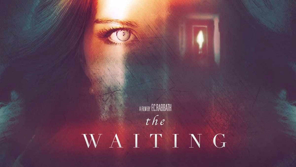 Poster Art for the waiting, showing the close-up image of a young woman, face half shadowed, silhouetted by an ominous hotel room.