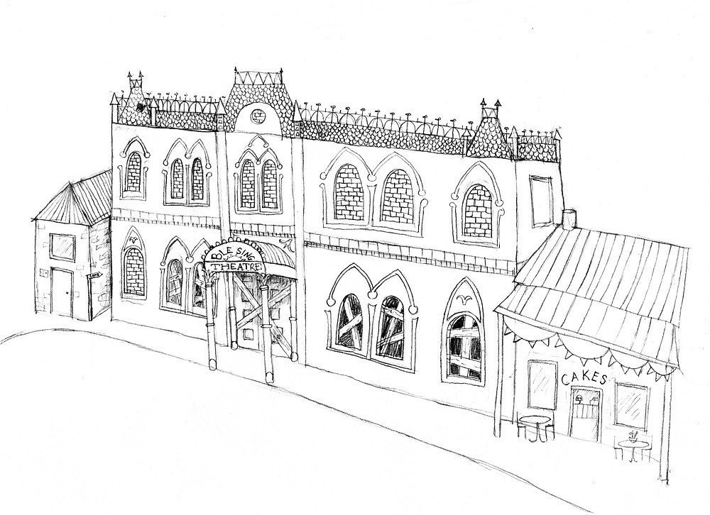 A sketch of Bletsing Theatre from my current novel-in-progress.