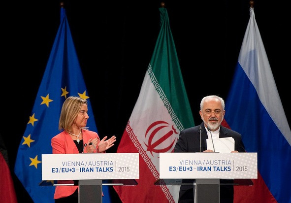 The Iran Deal is announced by EU High Representative Federica Mogherini and Iran Foreign Minister Javad Zarif at the venue of the nuclear talks in Vienna, Austria on July 14, 2015. (EEAS, 2015)