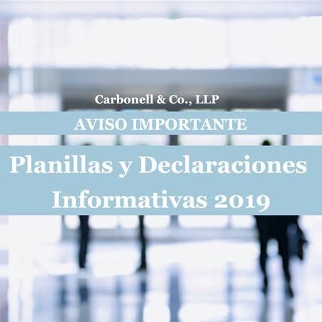 AVISO IMPORTANTE: Planillas y Declaraciones Informativas 2019