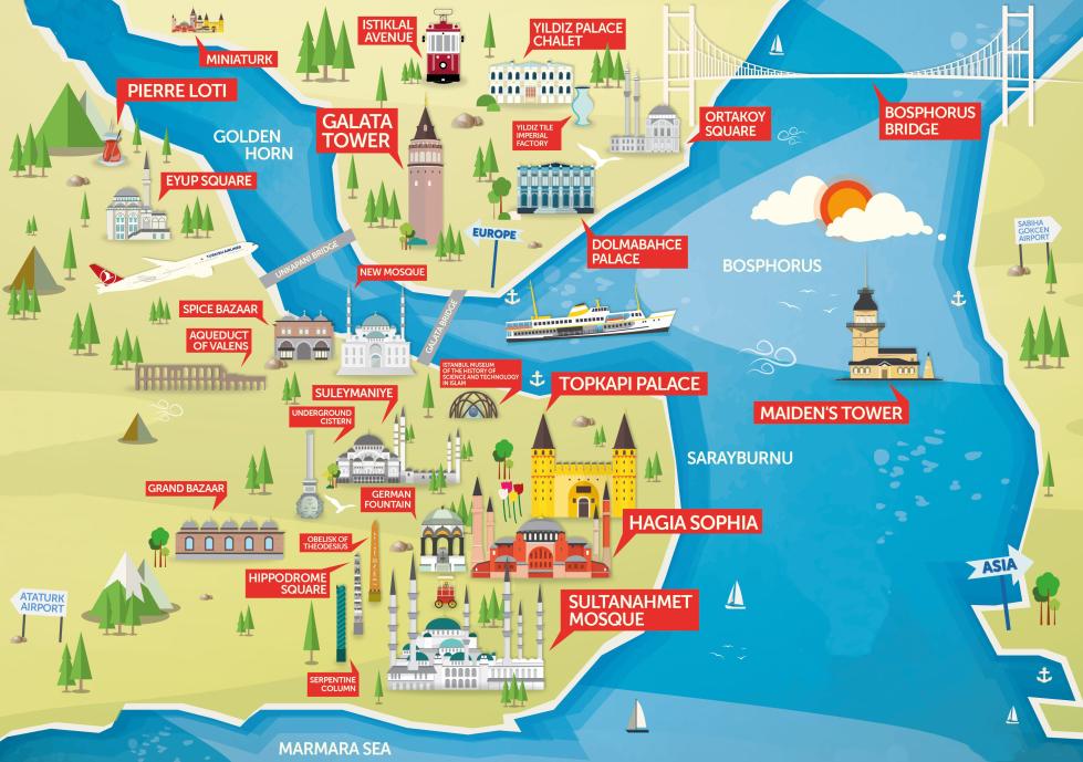 Plan carte istanbul à voir monuments