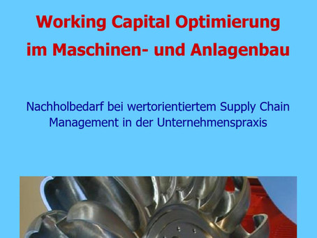 Working Capital: Nachholbedarf beim Maschinen- und Anlagenbau