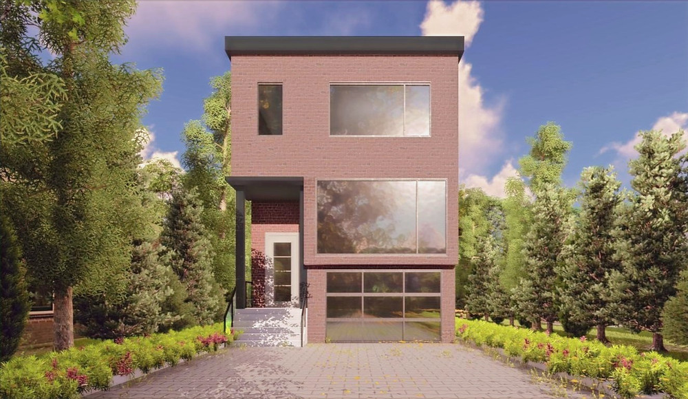 front elevation modern city house