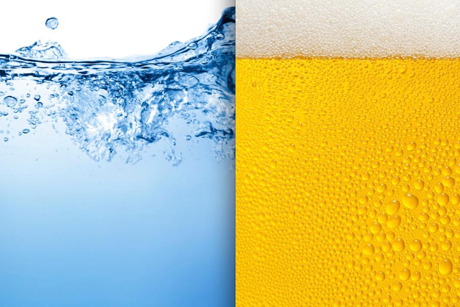 Porcentagem de água na cerveja é de 90%
