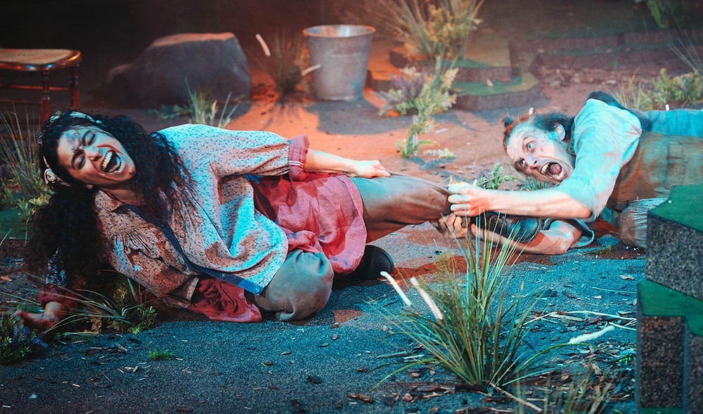Rakhee Sharma (Cathy) and Alex Austin (Heathcliff) in the Royal Exchange's Wuthering Heights. All pics: Helen Murray