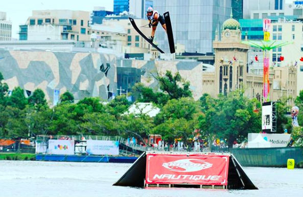 Jacinta Carroll jumping at Moomba Masters 2018