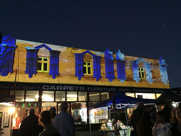 Projection onto a building at Picton.